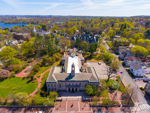 Robbins Memorial Town Hall of Arlington at 730 Massachusetts Ave in historic town center of Arlington, Massachusetts MA, USA.