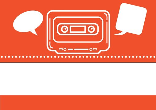 Composition of audio cassette tape and two empty speech bubbles on orange background