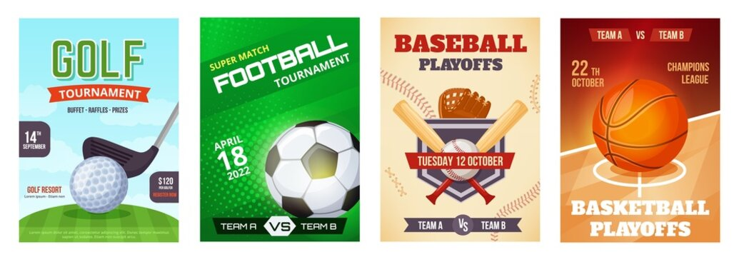 Sports game tournament poster, basketball playoff announcement flyer. Golf, football, baseball sport advertising posters vector template set. Championship advertisement banners or brochures