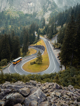 Tight hairpin bend and tour bus