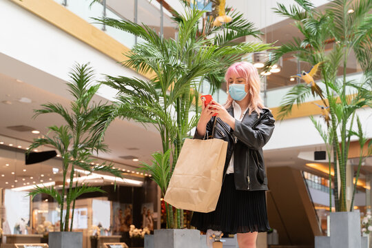 Woman With Leg Prosthesis At Shopping Mall