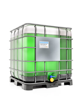 Industrial plastic container with green ethylene glycol fluid on white background