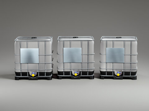 Three construction site water containers on gray background