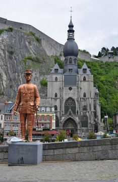 Dinant, Belgium, statue and memorial of Charles de Gaulle with view to the Church and the Fortress