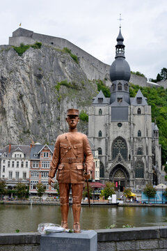 Dinant, Belgium, statue of Charles de Gaulle, river Maas the citadel and the church
