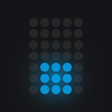 Digital sign DOT in blue on black background, lighted leds glowing flare on background,electronic number digital display