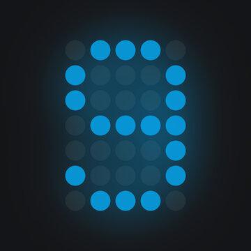 Digital number NINE in blue on black background, lighted leds glowing flare on background,electronic number digital display