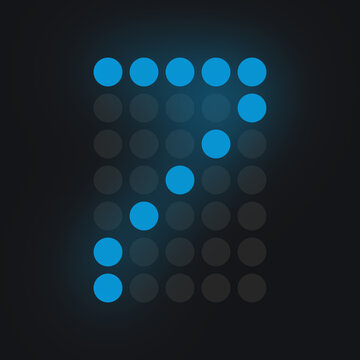 Digital number SEVEN in blue on black background, lighted leds glowing flare on background,electronic number digital display