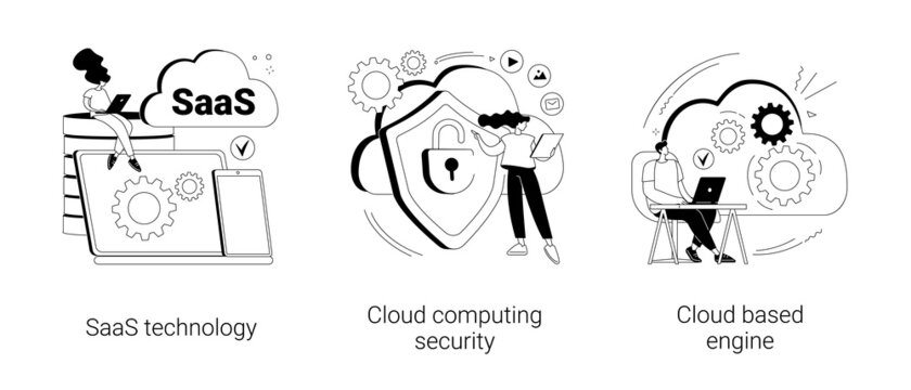 Cloud software abstract concept vector illustrations.
