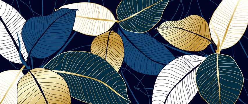 luxury gold and blue India rubber plant line art background vector. Flower boho style for textiles, wall art, fabric, wedding invitation, cover design Vector illustration.