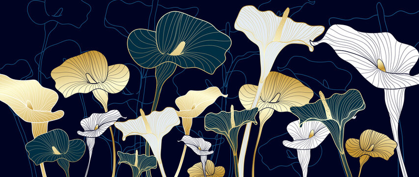 Luxury calla lily flower background  vector. Wallpaper design for prints, wall art and home deco. Vector illustration.