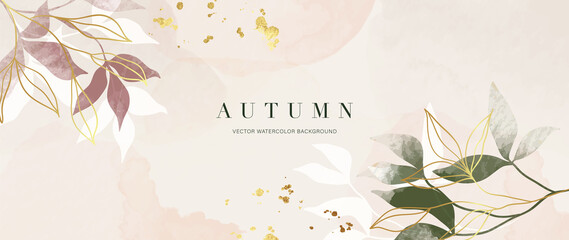 Fototapeta Autumn background design  with watercolor brush texture, Flower and botanical leaves watercolor hand drawing. Abstract art wallpaper design for wall arts, wedding and VIP invite card.  Vector EPS10 obraz
