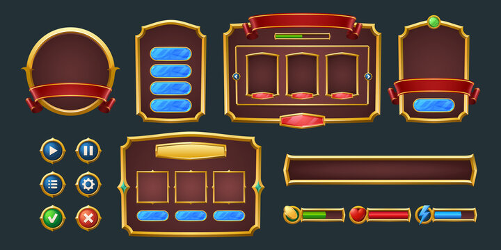 Set of game frames, bars and menu buttons cartoon interface elements. Empty borders with banners, ui or gui design blue, red and green scales, play, pause keys, user panel settings isolated vector kit