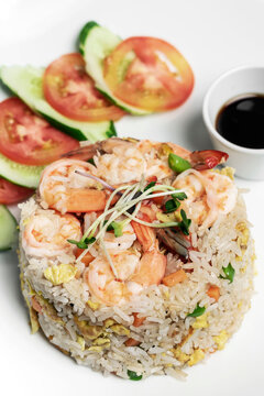 thai shrimp seafood fried rice meal in bangkok restaurant thailand