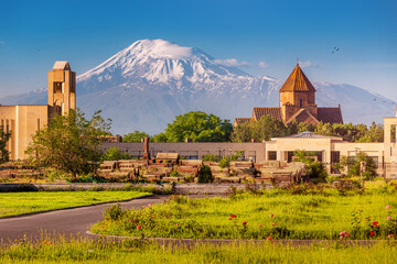 Fototapeta Picturesque view of the famous Mount Ararat and the church of St. Gayane in the foreground. Travel and tourist attractions in Armenia obraz