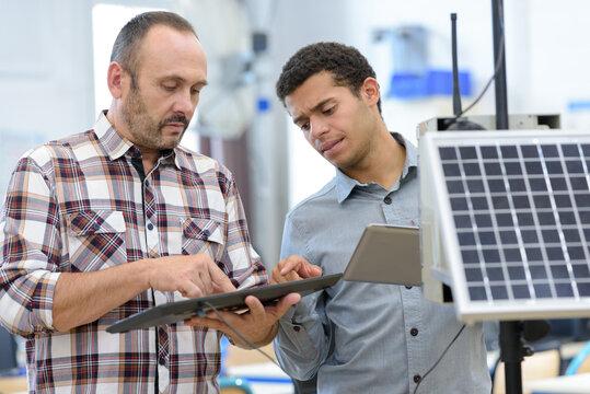 technician team repair and maintenance of solar panel