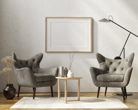 Mockup poster with two gray armchairs, home decoration in the living room. 3d render, 3d illustration.