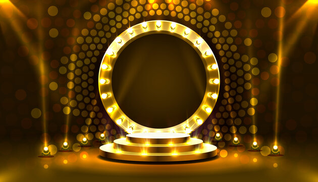 Show light, Stage Podium Scene with for Award Ceremony on gold Background. Vector