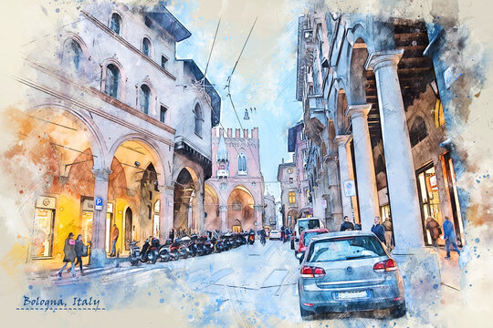 city life of Bologna, Italy,  in sketch style