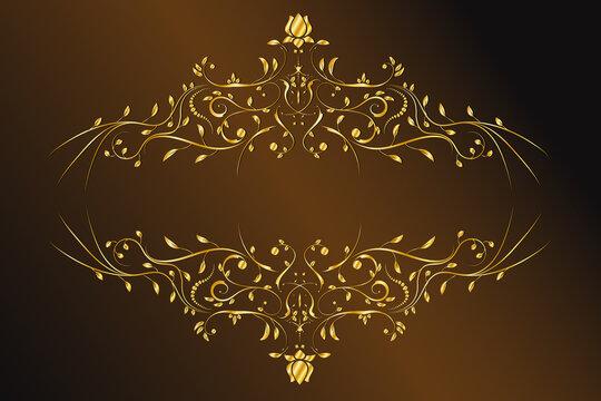 Abstract golden floral frame. - Vector. Vintage gold baroque frame scroll.