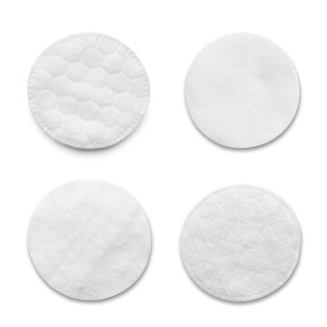 Set with soft cotton pads on white background, top view