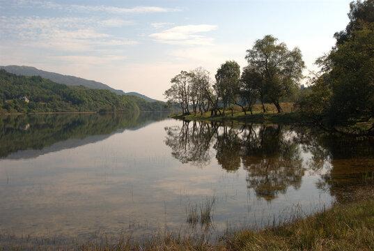Loch Achray in Trossachs in late summer