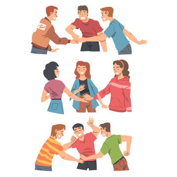 Happy People Character with Their Hands in Stack Putting Them Together Showing Unity and Solidarity Vector Set