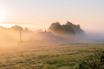 Fototapeta Wiejski wschód słońca obraz