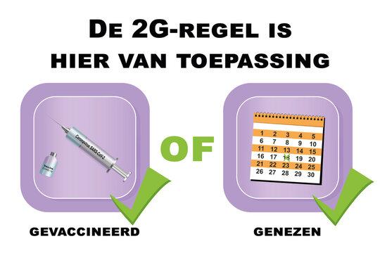 Schild mit der 2G Regel mit niederländischem Text