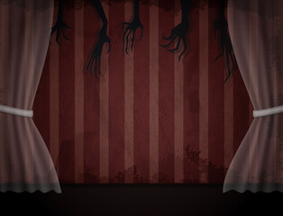 Obraz Aged old room with red striped grunge wallpaper, transparent curtain and shadows of creepy hands - fototapety do salonu