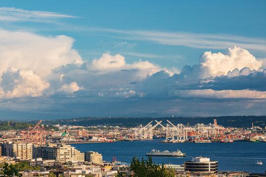 A Washington State Ferry approaching Seattle in Elliott Bay.