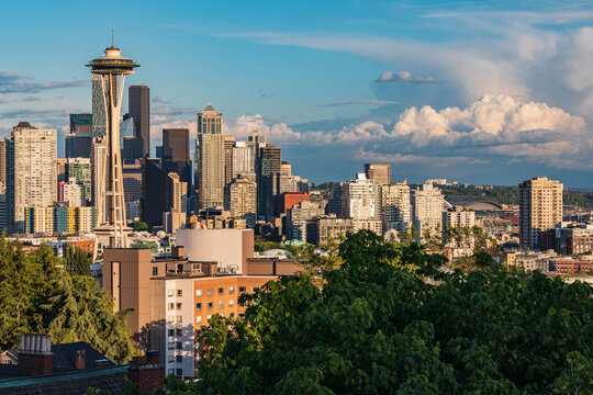 Downtown Seattle on a sunny summer day.