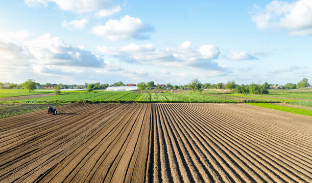 Farm field landscape and a tractor. Agricultural industry. Development of agricultural economy. Farming, agriculture. Loosening surface, land cultivation. Preparing for a new planting. Cutting rows