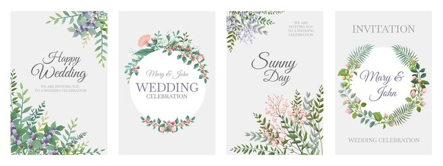 Wedding greenery posters. Green floral frame cards, trendy plants wreath and borders, vintage rustic elements. Vector bohemian cards
