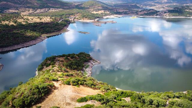 Detail of Temo lake shoreline in Sardinia