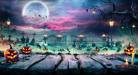 Obraz Halloween Landscape - Table And Graveyard In Spooky Night  - fototapety do salonu