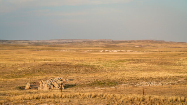 prairie in northern Colorado, late summer scenery with smoke and haze from distant wildfires