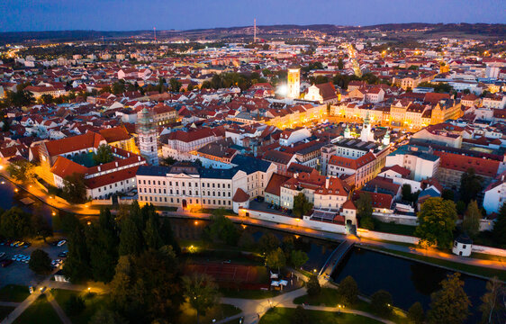 Aerial view of historic center of Ceske Budejovice overlooking large Ottokar II Square at twilight, South Bohemia Region, Czech Republic
