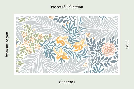 William Morris pattern postcard vector