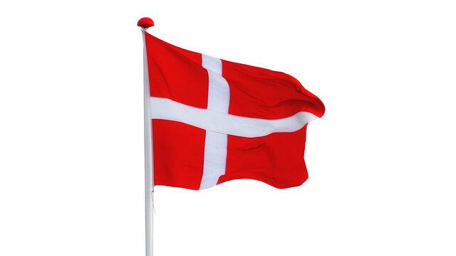 flagpole with danish flag isolated on white