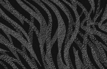 Tekstura, przenikające się grafitowe pasy zebry na czarnym tle. Grafika cyfrowa. Ozdobny papier, tapeta, druk na tkaninę, grafika na ścianę.