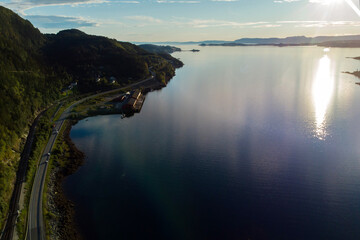 Amazing beautiful landscape nature in Norway, taken with drone
