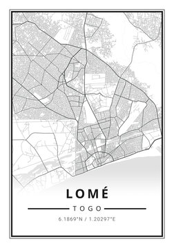 Street map art of Lomé city in Togo - Africa