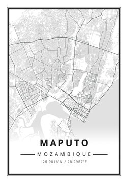 Street map art of Maputo city in Mozambique - Africa
