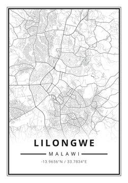 Street map art of Lilongwe city in Malawi - Africa