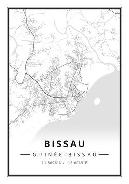 Street map art of Bissau city in Guinea Bissau - Africa
