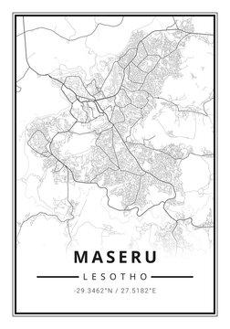 Street map art of Maseru city in Lesotho - Africa