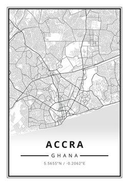 Street map art of Accra city in Ghana - Africa
