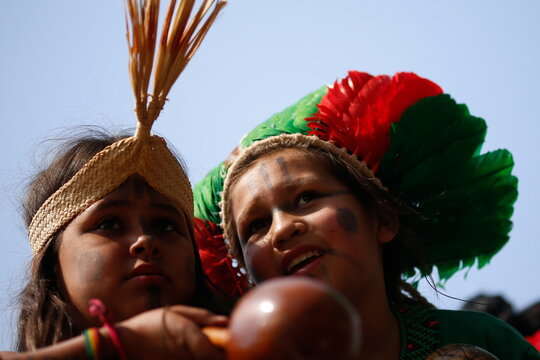 Second march of indigenous women to protest against Brazil's President Jair Bolsonaro in Brasilia