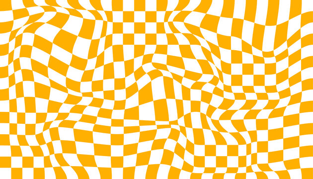 Checkered background with distorted squares. Abstract banner with distortion